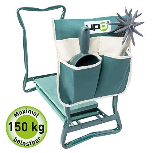 UPP Kniestuhl mit Tasche   Hocker und Kniebank für ergonomsiches Arbeiten im Garten   Rückenschoner & Knieschoner in einem Produkt   Mit praktischer Tasche für Harken, Schüppe uvm.
