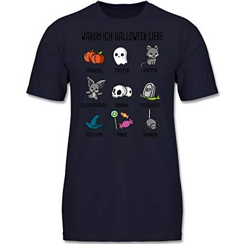 Anlässe Kinder - Warum ich Halloween Liebe - 152 (12-13 Jahre) - Dunkelblau - F130K - Jungen Kinder T-Shirt