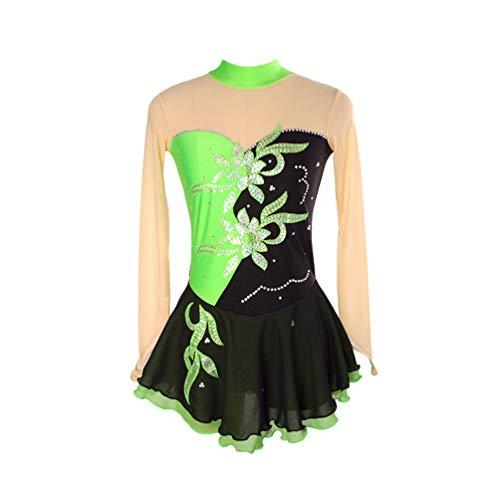 Kaiyei Eiskunstlaufkleid Frauen Mädchen Eislaufkleid Royal Chemical Fiber Mischung Nylon Material Handgefertigte feine Bohrer Schwarz Grün XL