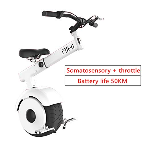 San Qing Electric Unicycle Balance Car, Somatosensory and Throttle E-Scooter, 800w Motor Power 15km / H, Gyroroue Unisex Adult, Black and White,White,Eatterylife50KM