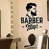 ZJfong Parrucchiere Decalcomania da muro in vinile Barbershop Logo Cartello Adesivi per capelli da uomo rimovibile Vetrina per negozio rimovibile per barbiere 74x57cm