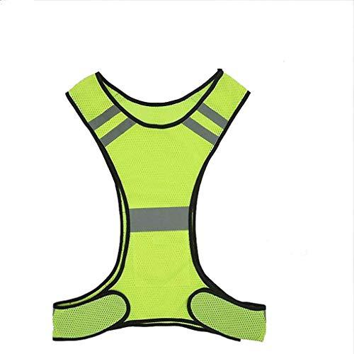 Gilet di Sicurezza Riflettente Notte Fluorescente Ciclismo Abbigliamento Sicurezza Stradale Impermeabile Giubbotto Riflettente Alta visibilità (Color : Yellow)