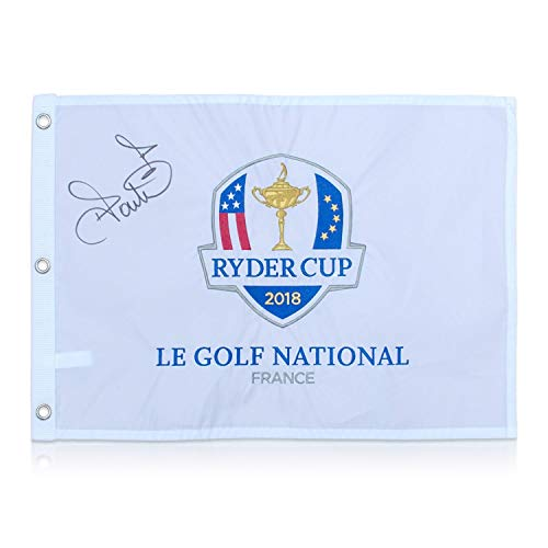 Exclusive Memorabilia Ryder Cup 2018 Golf Pin Flagge von Ian Poulter signiert -
