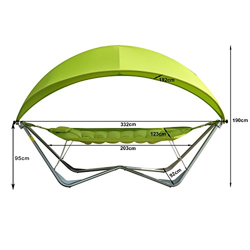 Outsunny Single Metal Pea Hammock Swing Garden Patio Sunshade Canopy Sun Bed Lounger With Steel Frame Lemon Green Luxury New