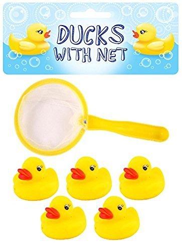 5 Mini Anatra di Gomma con Rete - 5 Mini Rubber Ducks with Net