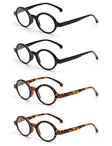 JM Satz von 4 Runden Lesebrille Federscharnier Leser Damen Herren Brillen für Lesen +5.0 Schwarz&Schildkröte
