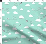 Papierflieger, Wolken, Herzen, Flugzeuge, Liebe Stoffe -