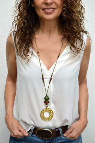 Lunga collana in cuoio con ciondolo africano per donna, gioielli moderni