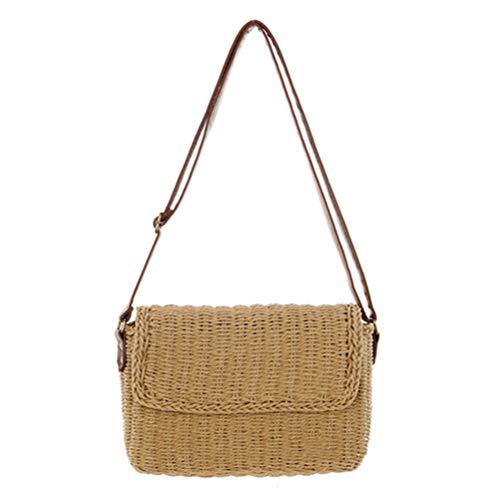 ZIHUINI Paket Vintage handgemachte Stroh Handtasche für Frauen Sommer Strand Tote gewebt lässig Umhängetaschen Böhmen gestrickte Stroh Tasche -