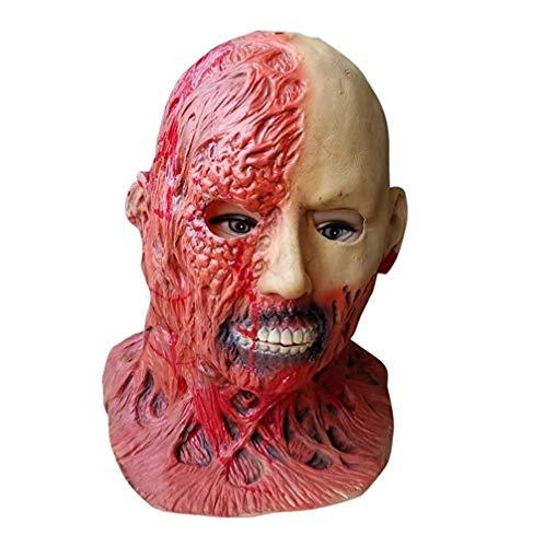 WANG XIN Gruselige Blutige Zombie Maske Schmelzendes Gesicht Latex Kostüm Walking Dead Spooky Maske Halloween Tricky Party Supplies for Mottoparty, Masquerade Party - Eishockey Zombie Kostüm