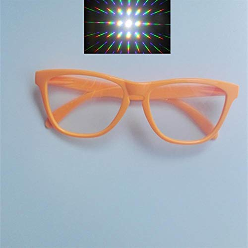 5er Premium Ultimate Diffraction Brille - 3D Rave Prism Grating Brille Rainbow Fireworks 13500 Linse Für Party Und Dance Event (Color : Orange Frame)