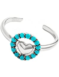 Pori Jewelers 18kt White Gold-Plated Sterling Silver Micro-Pave Turquoise CZ Heart Halo Adjustable Toe Ring