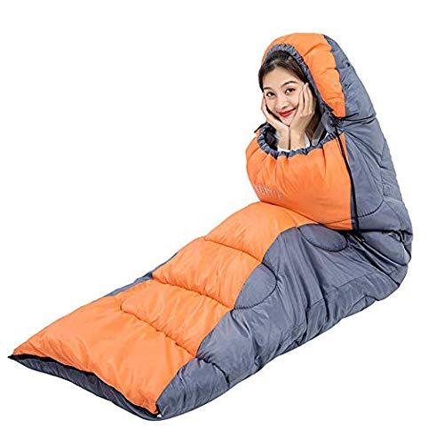 HAO XIAN SHENG Camping Schlafsack doppelt isoliert Leicht und wasserdicht für Erwachsene und Kinder Speed 4 Seasons für Wanderungen und Outdoor-Aktivitäten,Orange