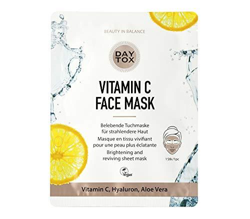 DAYTOX - Vitamin C Face Mask - Belebende Tuchmaske für eine Haut mit Glow - Vegan, ohne Farbstoffe, silikonfrei und parabenfrei - 1 Stück à 25 ml -