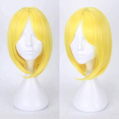 Land der Glänzenden (Die meisten Mitglieder) Anime Cosplay Perücken für Mädchen Kurze Gerade Hitzebeständige Kunstfaser Haar für Cosplay 12 zoll Polystyrol (Stil: Yellow Diamond)