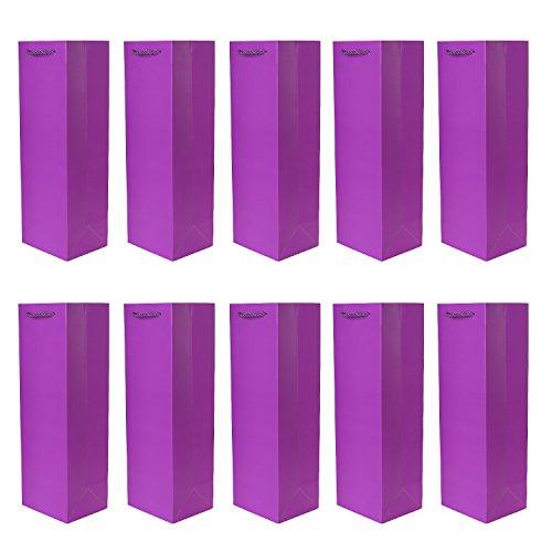 10er Packung Flaschentüten Geschenktüten lila für Wein Sekt und Champagner geeignet 36x12x10