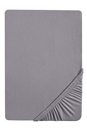 Castell 7113/018/087, drap housse en jersey stretch 100% coton, très doux et extensible, pour un lit de 180 x 200 cm à 200 x 200 cm, coloris gris