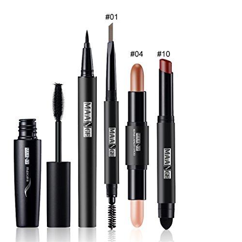 FantasyDay® 5Pcs Palette de Maquillage Kit de Maquillage Set de Maquillage Fêtes Cosmetic Kit Ombre à Paupières Comprenant Mascara, Eyeliner, Crayon à Sourcils, Rouge à Lèvres et Correcteur Stick #4
