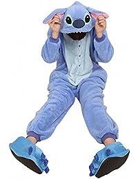 Tier Onesie Pyjama Blau Stich Kostüme Kigurumi Schlafanzug Erwachsene Unisex Tieroutfit tierkostüme Jumpsuit (L(für Höhe 170-179cm))