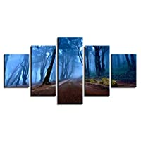 VCTQR 5 consecutive paintingsArtwork poster modular canvas picture 5 pieces forest night landscape painting decoration modern living room wall HD print art