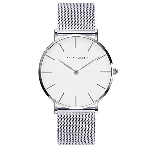 Herren Uhren,L'ananas Minimalistischer Stil Analog Geschäft Quarz Mesh Rostfreier Stahl Armbanduhr mit Geschenkbox Wristwatch (Silver+White)