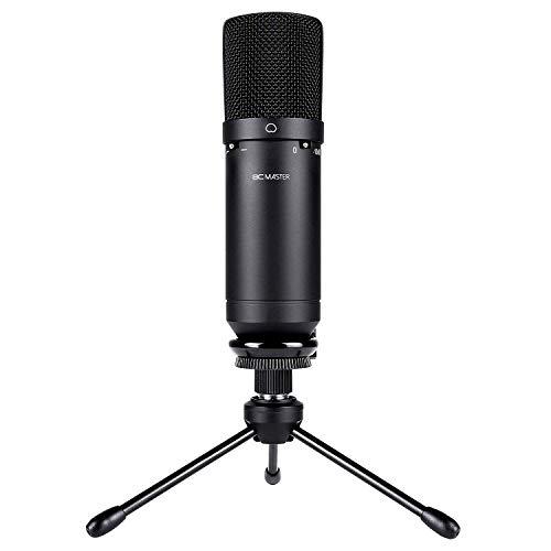 BC Master USB Mikrofon usb Kondensator  PC Aufnahmen Für Home Studio Skype Message FaceTime Twitch YouTube Google Voice Search Games usw., Kompatibel mit Windows Mac, Niere - Schwarz