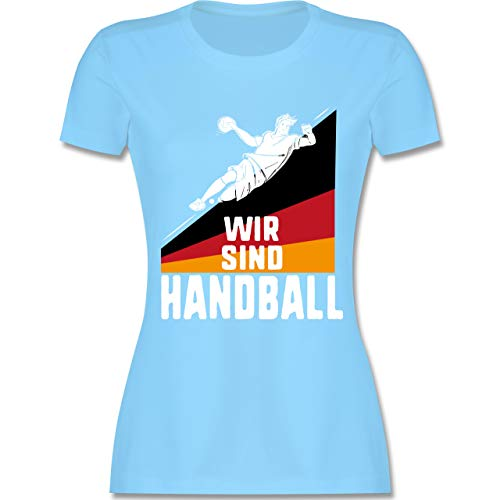 Handball WM 2019 - Wir sind Handball! Deutschland - L - Hellblau - L191 - Damen Tshirt und Frauen T-Shirt