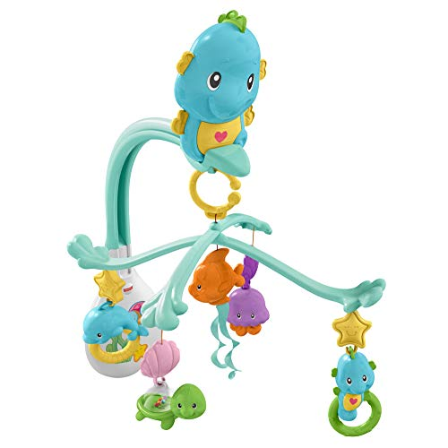 Fisher-Price Móvil musical caballito de mar, para bebé +0 meses (Mattel DFP12)