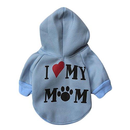zoonpark® Hund Kleidung, I Love my Mom Fleece Pet Teddy Hoodie mit Kapuze Kleidung Warm Mantel Pets Hunde Puppy Hoodie Winter T-Shirt Kleidung Kostüm Bekleidung