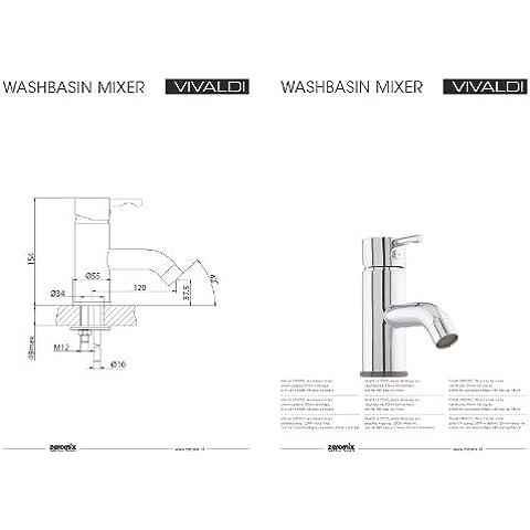 Zero Mix senza piombo/nichel libera rubinetto per lavabo–rubinetto da bagno rubinetto ad alta pressione rubinetto monocomando monocomando da cromato Serie esecuzione: Vivaldi n.: 1402002