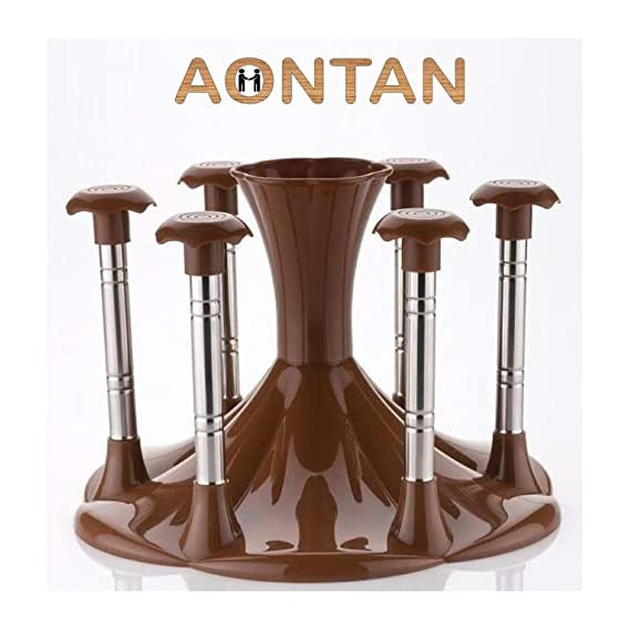 AONTAN Made Stainless Steel and Virgin Glass Holder and Spoon Organiser for 6 Glasses and Cutlery Glass Stand Plastic Steel (Coffee Colour)