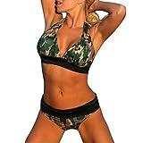 ELECTRI Femmes Bikini Push Up 2 Pièces Bikini Set Maillot de Bain Rembourré Camouflage (Sexy Vert, XL)