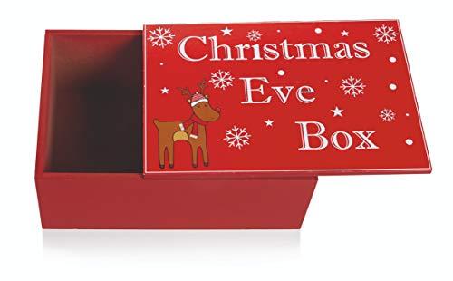 Unbekannt Traditionelle Weihnachtsbox mit Holzdeckel - Rudolph Das rote Rentier mit Rentier mit roter Nase, Rot/Weiß