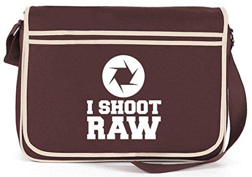 Shirtstreet24, I SHOOT RAW, Kamera Camera Retro Messenger Bag Kuriertasche Umhängetasche Braun