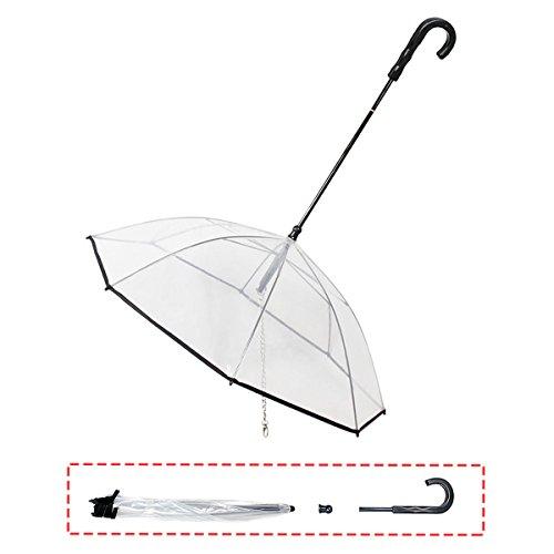 HongYH Paraguas transparente de perro con correa desmontable, impermeable, paraguas para pequeñas y medianas mascotas perros & gatos