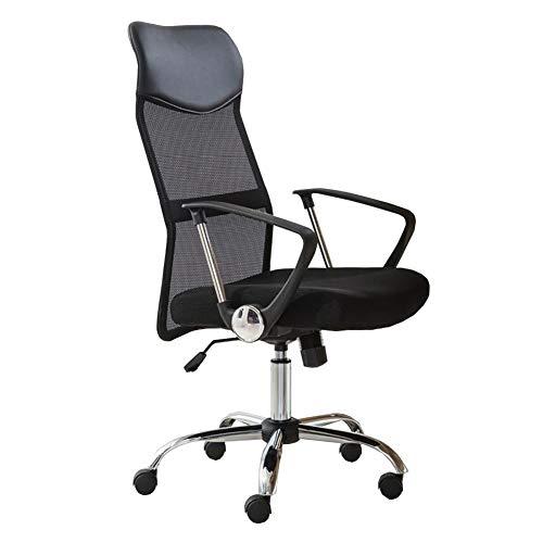 Dall Bürostuhl Hoher Rücken Ergonomisch 360-Grad-Schwenker Schreibtischstuhl Atmungsaktives Mesh Lordosenstütze Verstellbare Höhe (Color : Black)