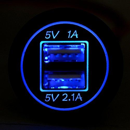 CAOQAO ® Caricabatteria per Auto Dual USB Dual Apertura/Interfaccia Universale di Ricarica Rapida Universale da 15 W/per Qualsiasi Dispositivo di Interfaccia USB Come Samsung Apple Huawei Miglio