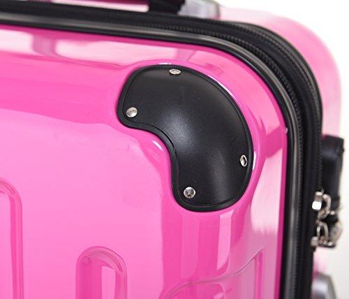 BEIBYE Hartschalen Koffer Trolley Rollkoffer Reisekoffer 4 Zwillingsrollen (76cm -110L, Pink) - 4