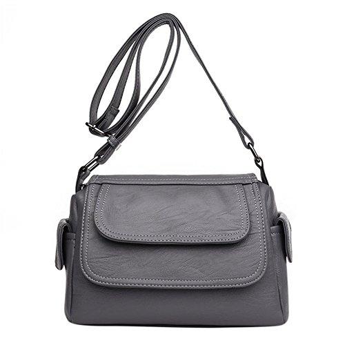Schultertasche aus Leder PU Schultertasche Schultertasche aus Handtasche Casual Fashion für Damen schwarz Grau