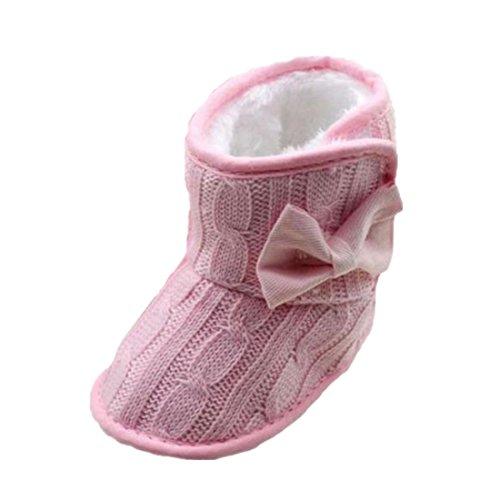 Ularmo Schuhe für 0-18 Monate Baby, Bowknot-weich Sohle Winter warme Stiefel (12cm(6-12 Monate))