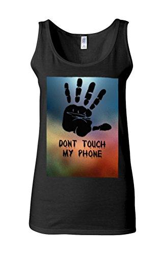 Do Not Touch My Phone Funny Novelty White Femme Women Tricot de Corps Tank Top Vest *Noir