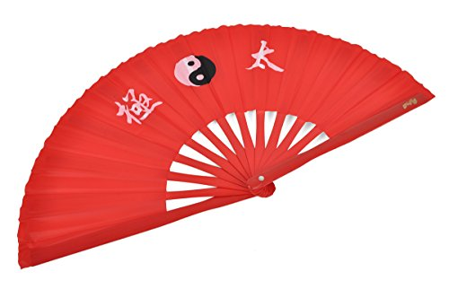 Abánico Tai Chi (Tai Ji Shan) bambú - Diestro, Rojo imprimido