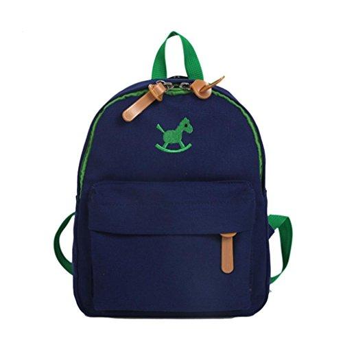 Hukz Kinder Cute Cartoon Animal Schultasche Jungen Kinder Pferd Animal Print Rucksack Kleinkind Schultasche (Dark Blue)