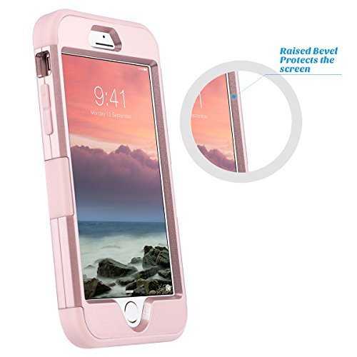 iPhone 7 Cover, ULAK iPhone 7 Custodia ibrida a protezione integrale Cover per Apple iPhone 7 case con parte esterna in 3 strati di morbido silicone e interno rigido, Glitters Oro Rosa Glitters Oro Rosa