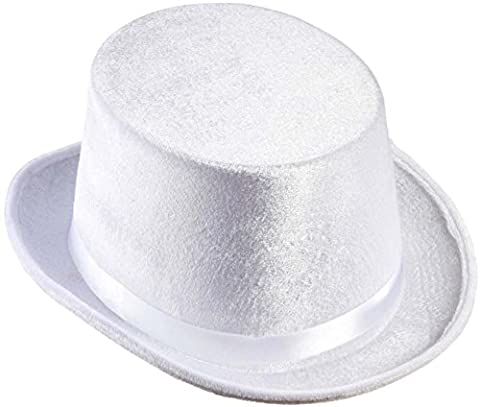 Samt Zylinder Hut weiß Zylinderhut Herrenzylinder Herren Kopfbedeckung Fasching Karneval Karnevalzylinder