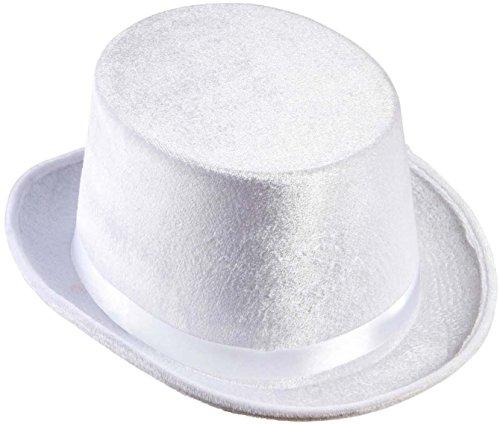 Cappello cilindro bianco in feltro per mago prestigiatore sposo