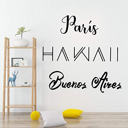wlwhaoo Personalisierte Paris Wandaufkleber Wandtattoo Wohnkultur Für Kinderzimmer Home Party Decor Tapete XL 57cm X 70cm -
