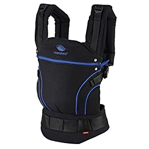 41gBDvs9OxL. SS300  - manduca First Portabebe > BlackLine Absolute Blue < Mochila Portabebes con Cinturon Ergonomico & Extension de Espalda, Algodón Orgánico, para bebés de 3,5 a 20 kg (negro-azul)