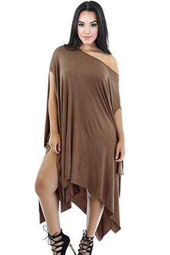 Asimmetriche-Mantello da donna, colore: marrone chiaro, tuniche, abiti da indossare quando viene piegato, taglia M 42-44