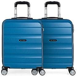 ITACA - Pack 2 Maletas de Viaje Rígidas 4 Ruedas 55x40x20 cm Cabina Trolley ABS. Equipaje de Mano. Resistentes y Ligeras. Mango y Asa. Vuelos Low Cost Ryanair, Candado. T71650P, Color Azul/Azul
